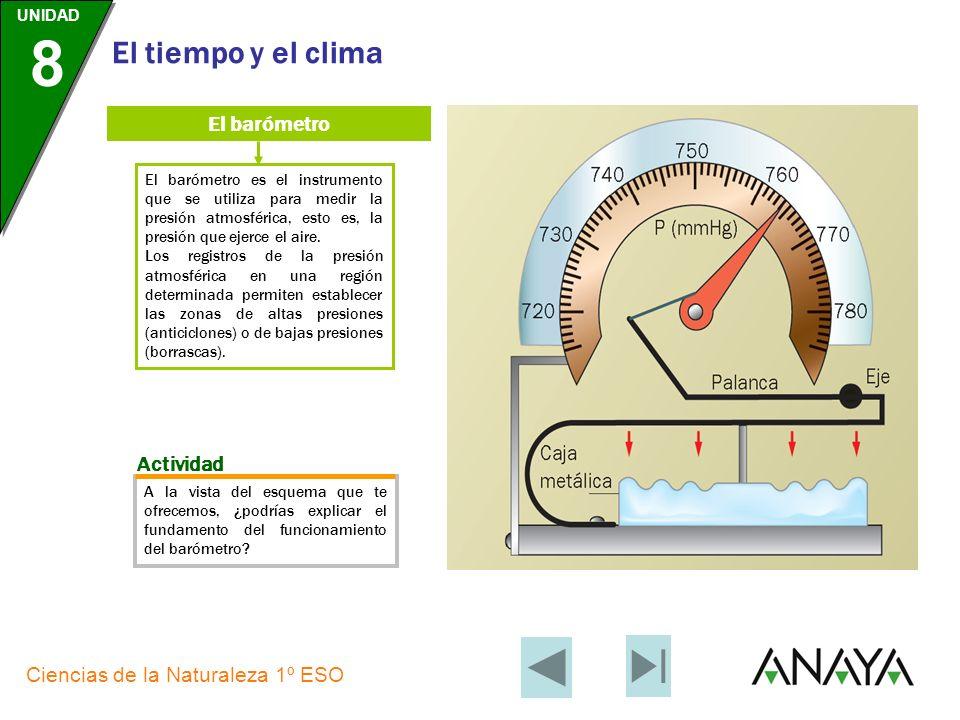UNIDAD 8 Ciencias de la Naturaleza 1º ESO El tiempo y el clima El anemómetro El anemómetro es el dispositivo que se utiliza para medir la velocidad de