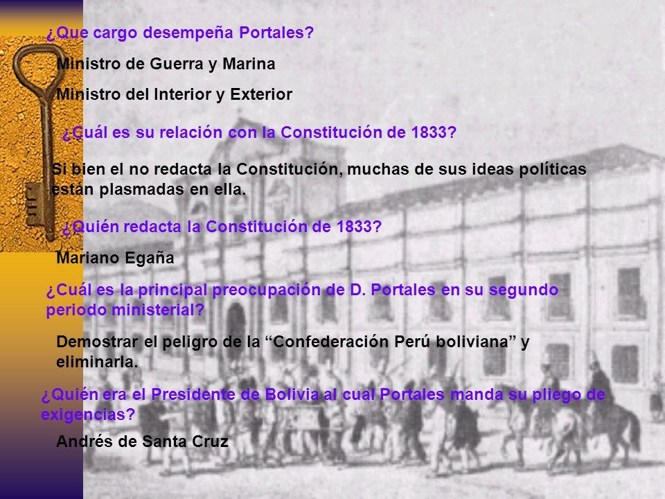 ¿Que cargo desempeña Portales? Ministro de Guerra y Marina Ministro del Interior y Exterior ¿Cuál es su relación con la Constitución de 1833? Si bien