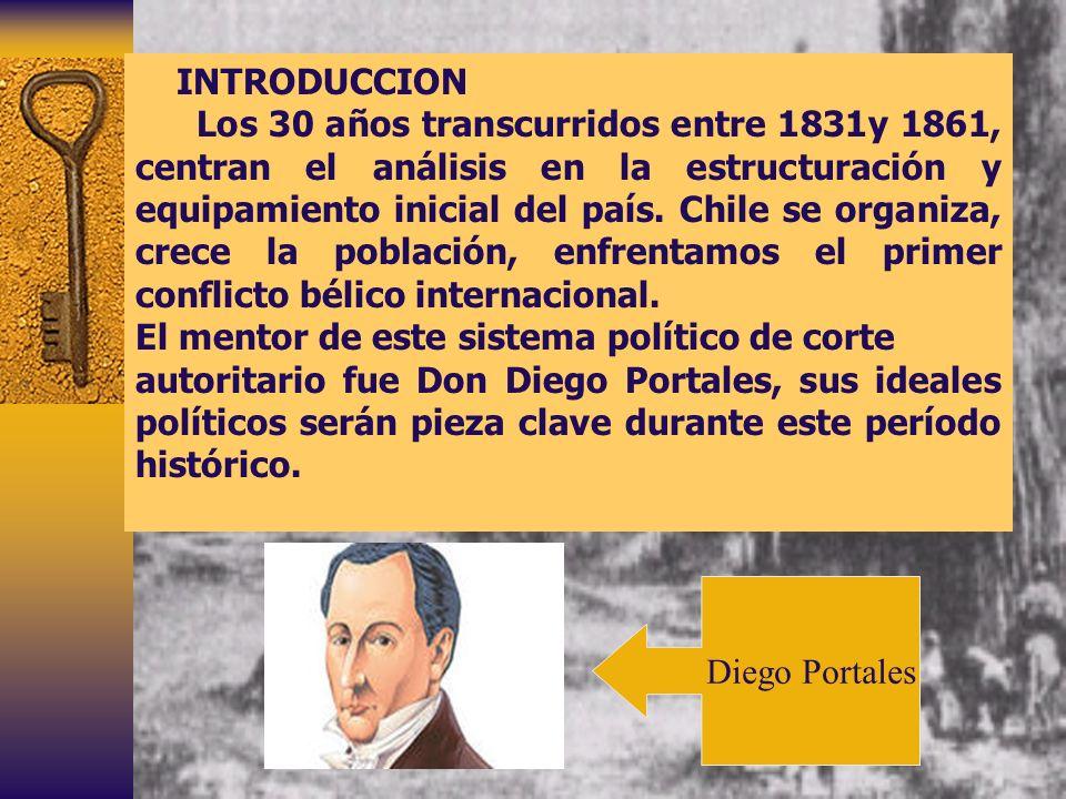 INTRODUCCION Los 30 años transcurridos entre 1831y 1861, centran el análisis en la estructuración y equipamiento inicial del país. Chile se organiza,