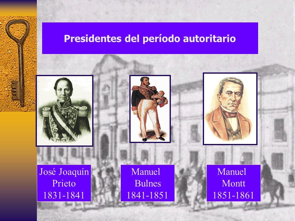 Presidentes del período autoritario Manuel Bulnes 1841-1851 Manuel Montt 1851-1861 José Joaquín Prieto 1831-1841
