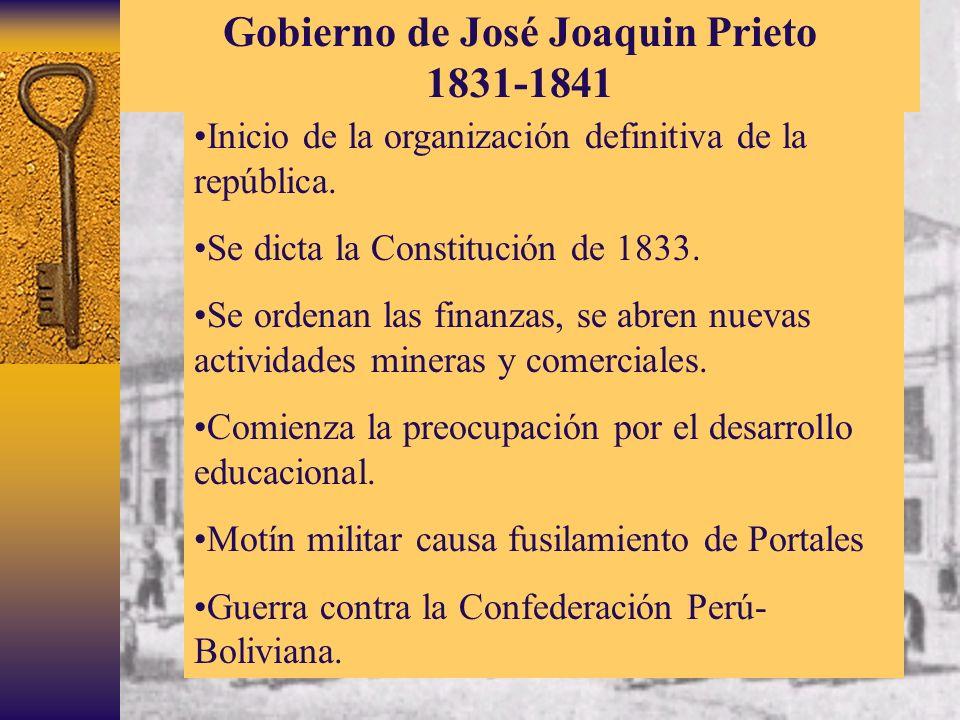 Inicio de la organización definitiva de la república. Se dicta la Constitución de 1833. Se ordenan las finanzas, se abren nuevas actividades mineras y