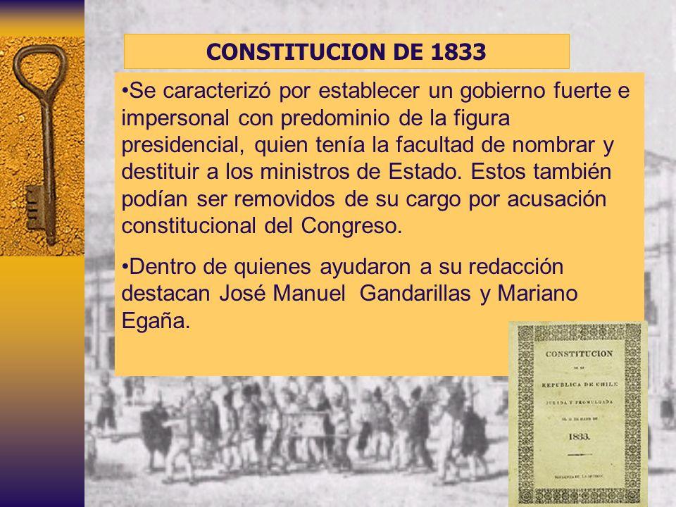 CONSTITUCION DE 1833 Se caracterizó por establecer un gobierno fuerte e impersonal con predominio de la figura presidencial, quien tenía la facultad d