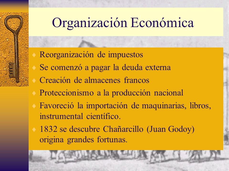 Organización Económica Reorganización de impuestos Se comenzó a pagar la deuda externa Creación de almacenes francos Proteccionismo a la producción na
