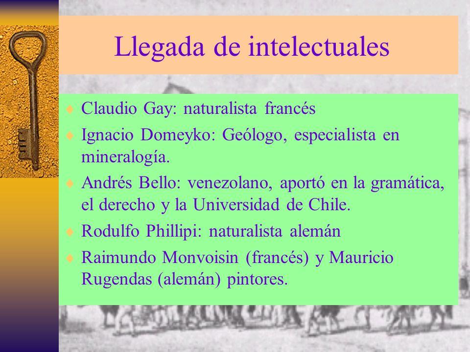 Llegada de intelectuales Claudio Gay: naturalista francés Ignacio Domeyko: Geólogo, especialista en mineralogía. Andrés Bello: venezolano, aportó en l