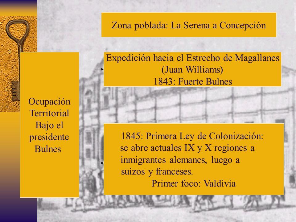 Ocupación Territorial Bajo el presidente Bulnes Zona poblada: La Serena a Concepción Expedición hacia el Estrecho de Magallanes (Juan Williams) 1843: