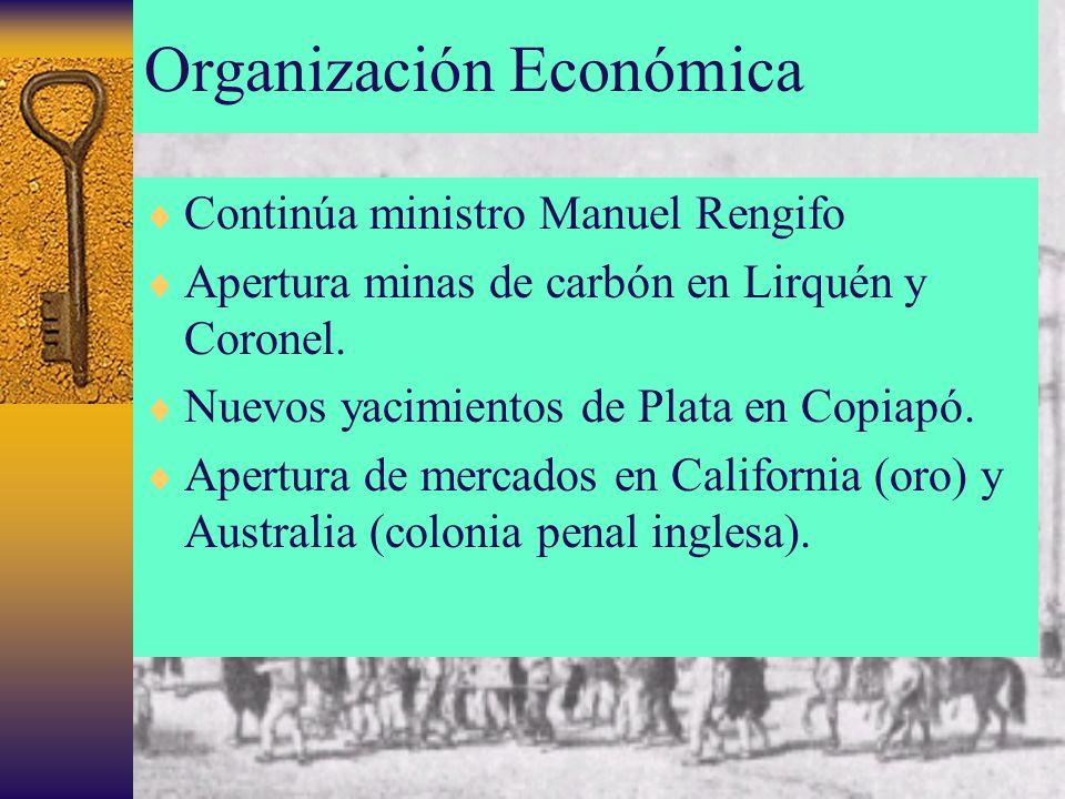 Organización Económica Continúa ministro Manuel Rengifo Apertura minas de carbón en Lirquén y Coronel. Nuevos yacimientos de Plata en Copiapó. Apertur