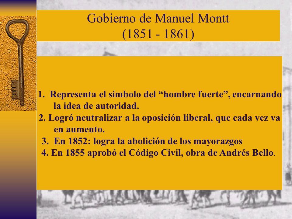 Gobierno de Manuel Montt (1851 - 1861) 1. Representa el símbolo del hombre fuerte, encarnando la idea de autoridad. 2. Logró neutralizar a la oposició