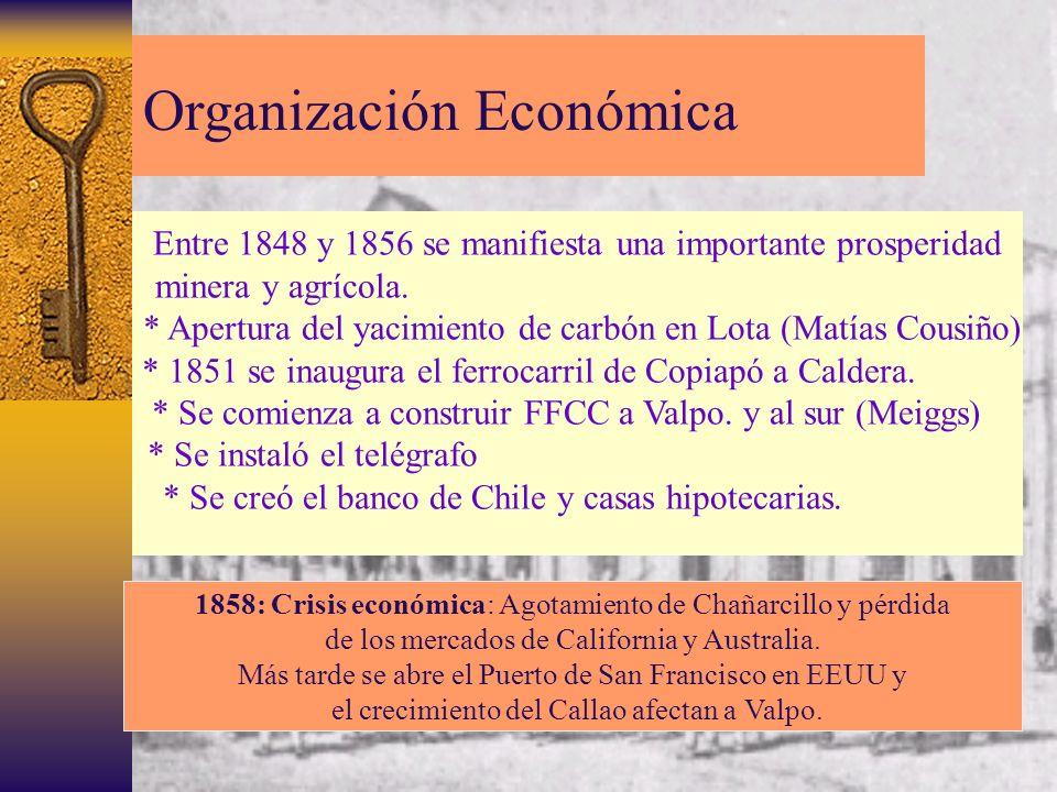 Organización Económica Entre 1848 y 1856 se manifiesta una importante prosperidad minera y agrícola. * Apertura del yacimiento de carbón en Lota (Matí