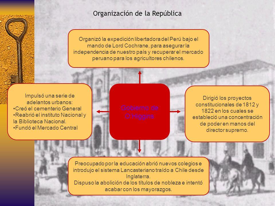 Gobierno de OHiggins Organización de la República Organizó la expedición libertadora del Perú bajo el mando de Lord Cochrane, para asegurar la indepen