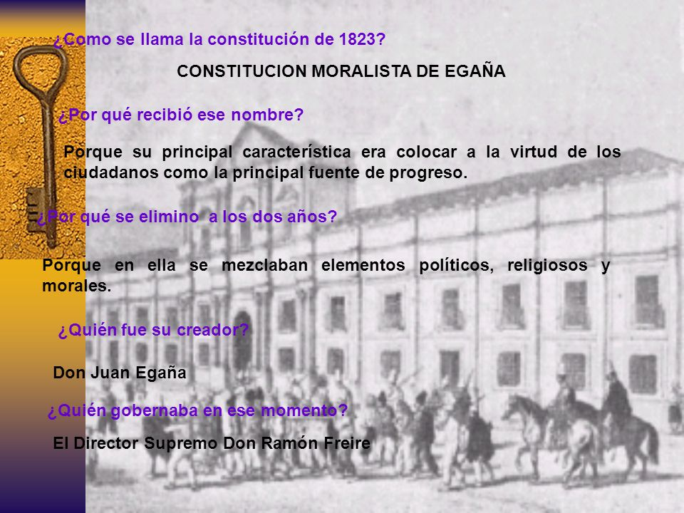 ¿Como se llama la constitución de 1823? CONSTITUCION MORALISTA DE EGAÑA ¿Por qué recibió ese nombre? Porque su principal característica era colocar a