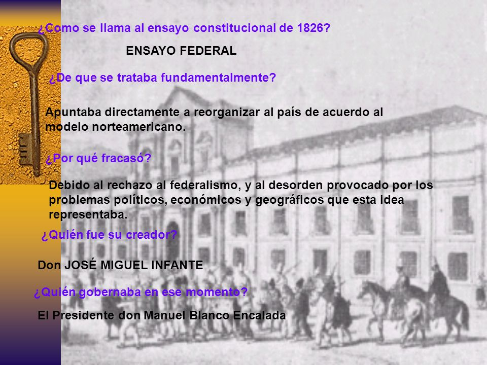 ¿Como se llama al ensayo constitucional de 1826? ENSAYO FEDERAL ¿Quién fue su creador? Don JOSÉ MIGUEL INFANTE ¿Quién gobernaba en ese momento? El Pre