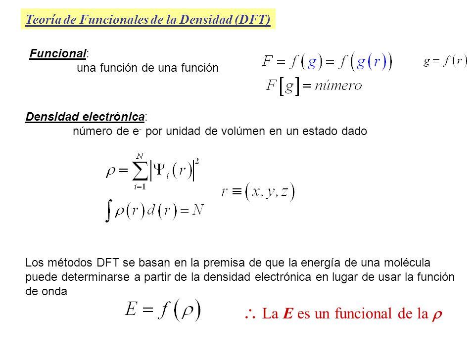 Teoría de Funcionales de la Densidad (DFT) Densidad electrónica: número de e - por unidad de volúmen en un estado dado Los métodos DFT se basan en la