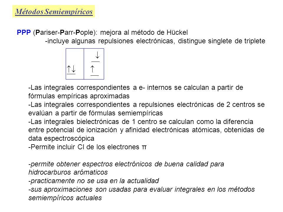 Métodos Semiempíricos PPP (Pariser-Parr-Pople): mejora al método de Hückel -incluye algunas repulsiones electrónicas, distingue singlete de triplete -