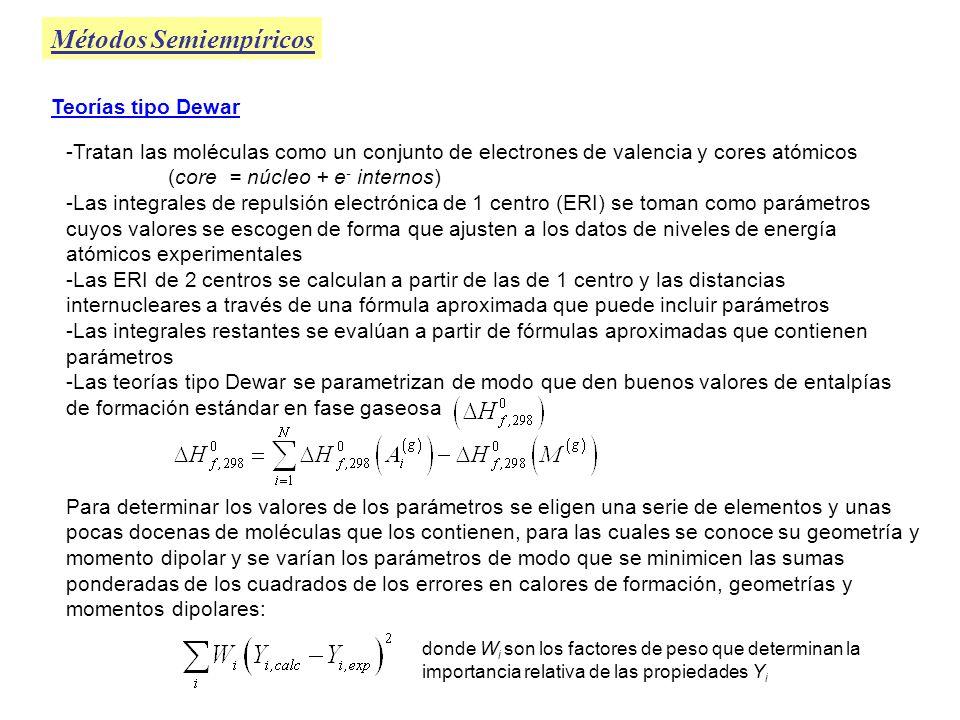 Métodos Semiempíricos Teorías tipo Dewar -Tratan las moléculas como un conjunto de electrones de valencia y cores atómicos (core = núcleo + e - intern