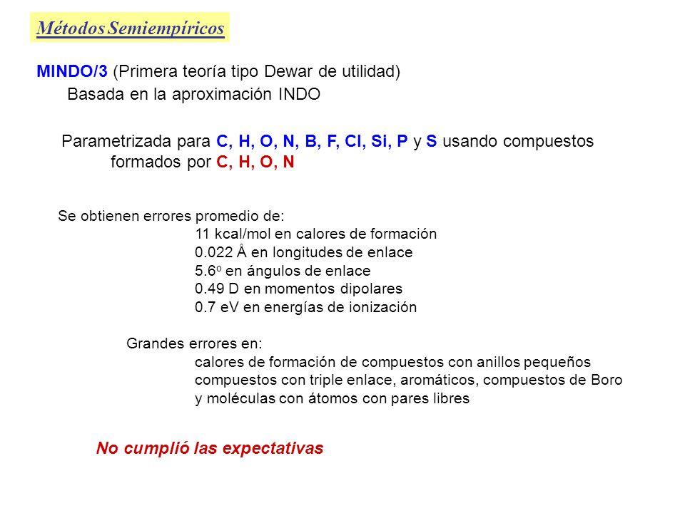 MINDO/3 (Primera teoría tipo Dewar de utilidad) Métodos Semiempíricos Parametrizada para C, H, O, N, B, F, Cl, Si, P y S usando compuestos formados po