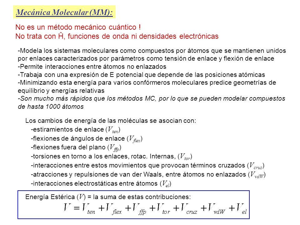 Mecánica Molecular (MM): No es un método mecánico cuántico ! No trata con Ĥ, funciones de onda ni densidades electrónicas -Modela los sistemas molecul