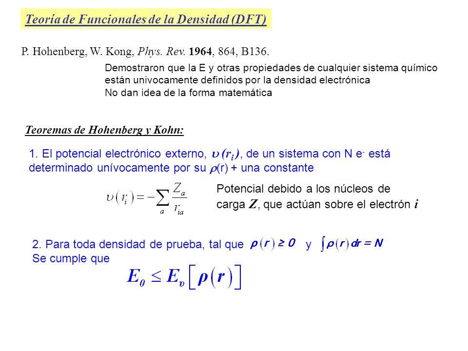 Teoría de Funcionales de la Densidad (DFT) P. Hohenberg, W. Kong, Phys. Rev. 1964, 864, B136. Demostraron que la E y otras propiedades de cualquier si