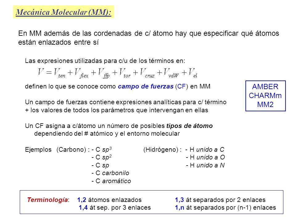 Mecánica Molecular (MM): Las expresiones utilizadas para c/u de los términos en: definen lo que se conoce como campo de fuerzas (CF) en MM Un campo de