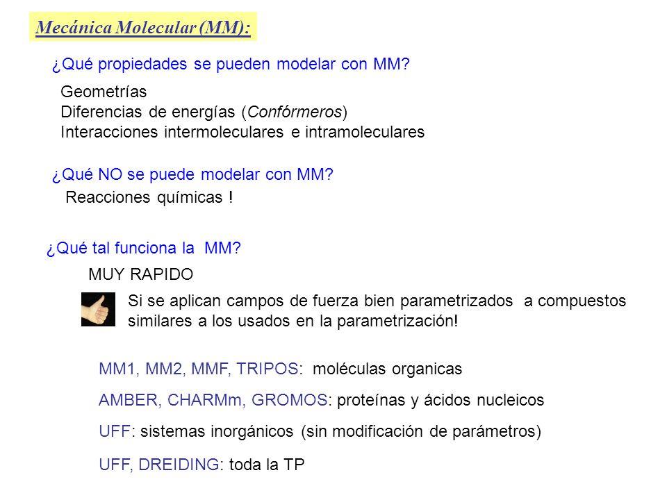 Mecánica Molecular (MM): ¿Qué propiedades se pueden modelar con MM? Geometrías Diferencias de energías (Confórmeros) Interacciones intermoleculares e