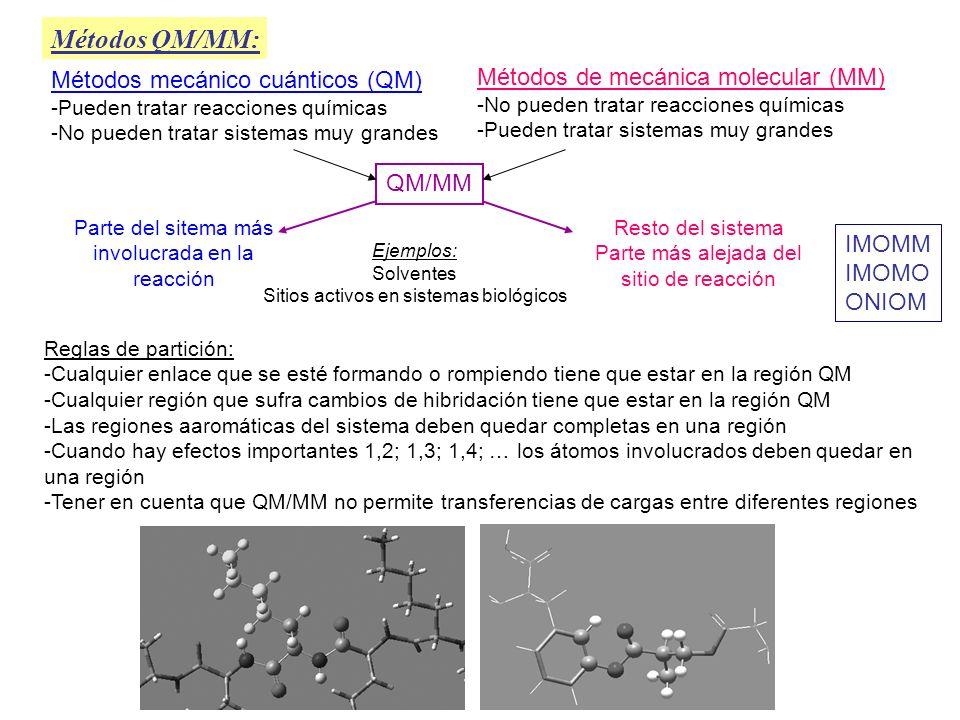 Métodos QM/MM: Métodos mecánico cuánticos (QM) -Pueden tratar reacciones químicas -No pueden tratar sistemas muy grandes Métodos de mecánica molecular