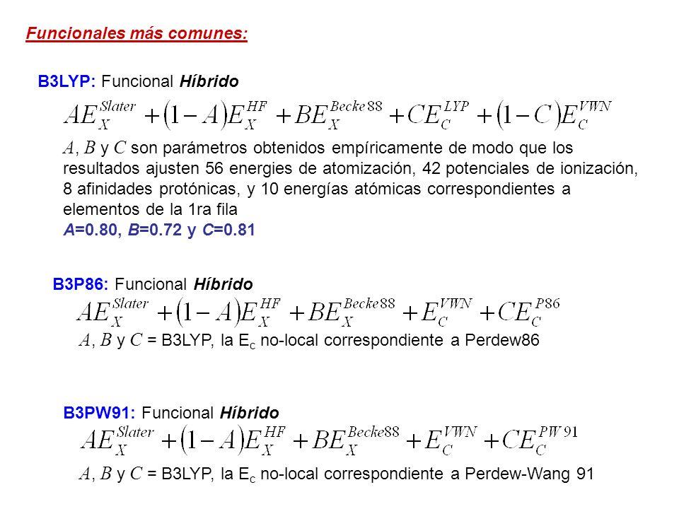 Funcionales más comunes: B3LYP: Funcional Híbrido A, B y C son parámetros obtenidos empíricamente de modo que los resultados ajusten 56 energies de at