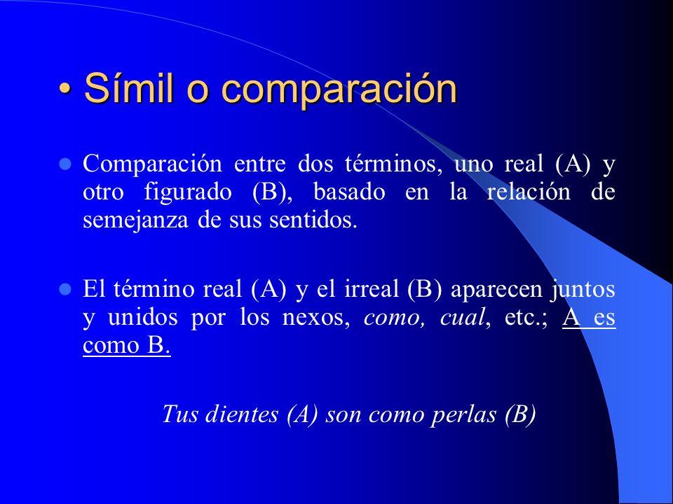 Símil o comparación Símil o comparación Comparación entre dos términos, uno real (A) y otro figurado (B), basado en la relación de semejanza de sus se