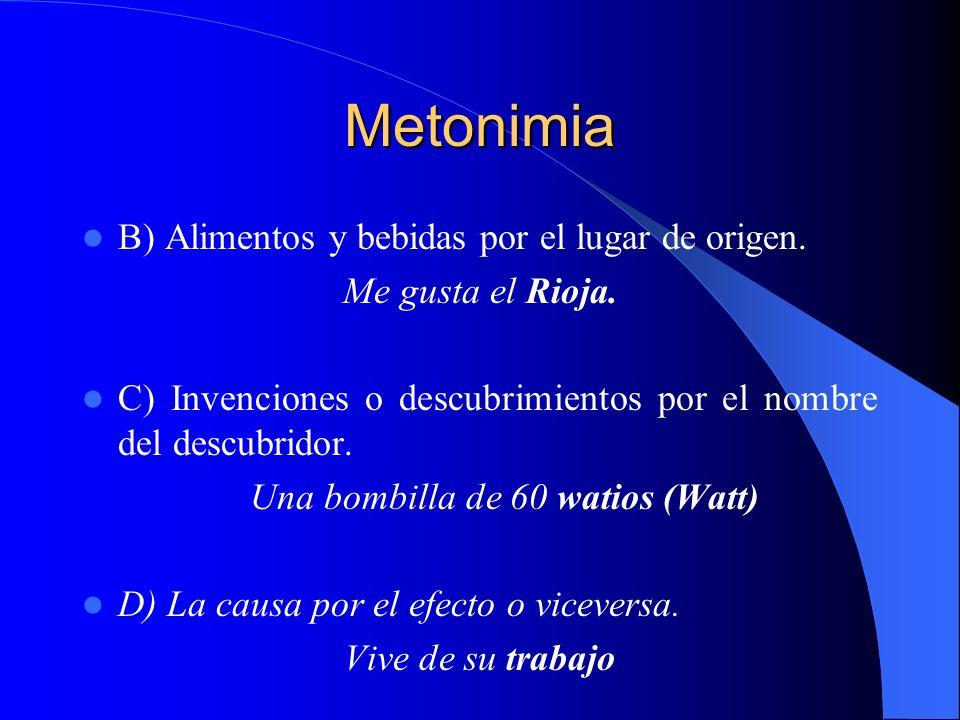 Metonimia B) Alimentos y bebidas por el lugar de origen. Me gusta el Rioja. C) Invenciones o descubrimientos por el nombre del descubridor. Una bombil