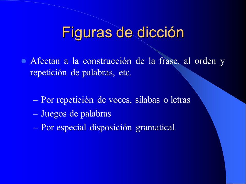 Figuras de dicción Afectan a la construcción de la frase, al orden y repetición de palabras, etc. – Por repetición de voces, sílabas o letras – Juegos