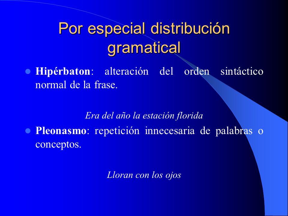 Por especial distribución gramatical Hipérbaton: alteración del orden sintáctico normal de la frase. Era del año la estación florida Pleonasmo: repeti