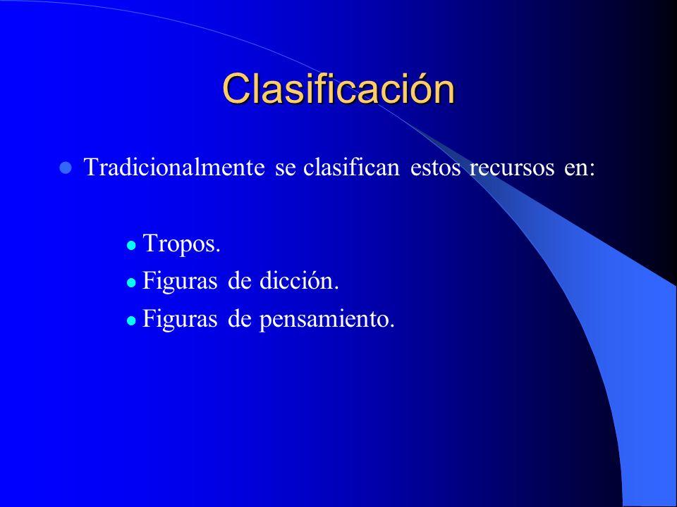 Clasificación Tradicionalmente se clasifican estos recursos en: Tropos. Figuras de dicción. Figuras de pensamiento.