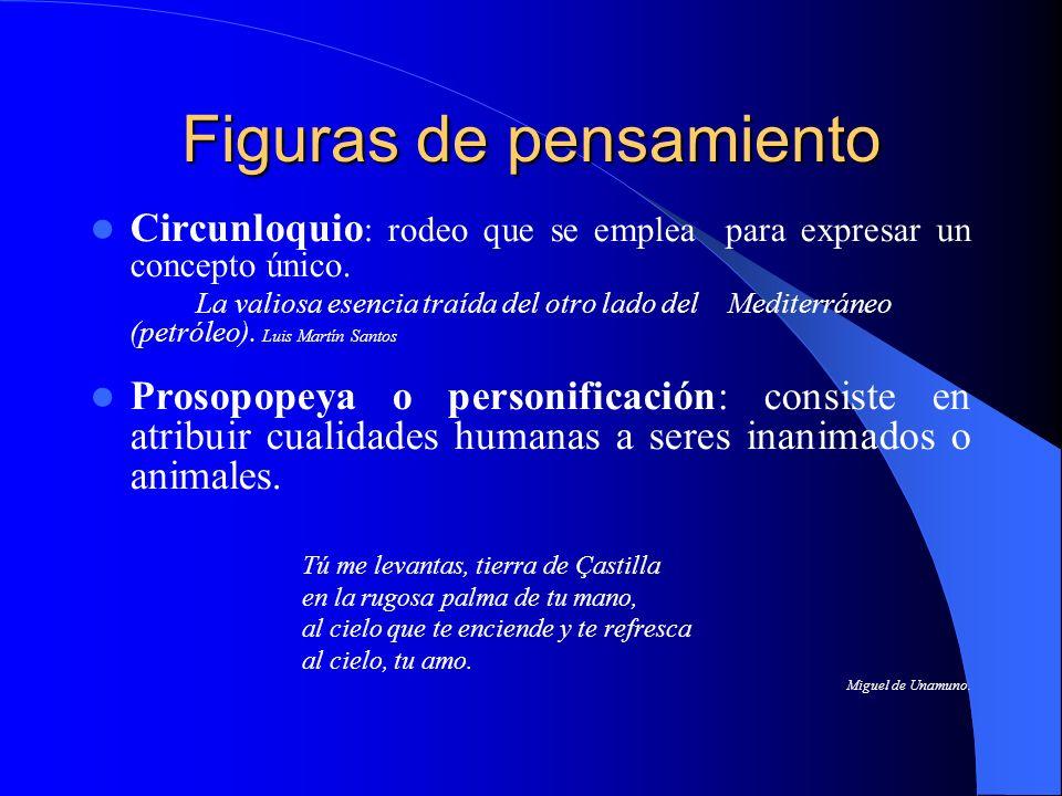 Figuras de pensamiento Circunloquio : rodeo que se emplea para expresar un concepto único. La valiosa esencia traída del otro lado del Mediterráneo (p