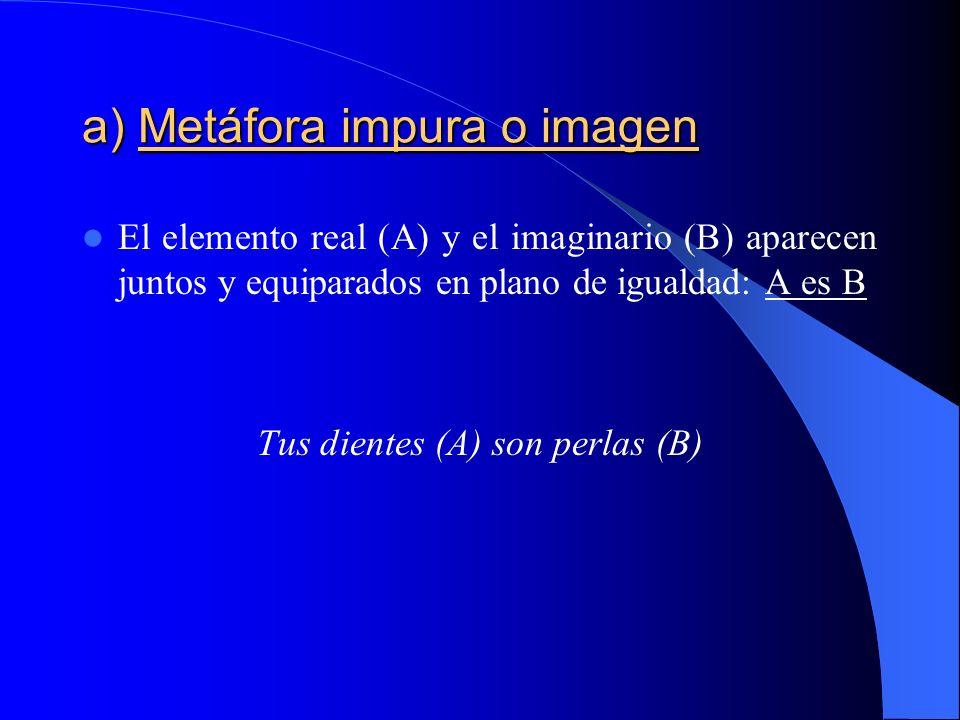 a) Metáfora pura a) Metáfora pura Identificación poética en la que sólo aparece el elemento figurado (B), que debe por sí mismo evocar al real, con el cual se ha identificado.