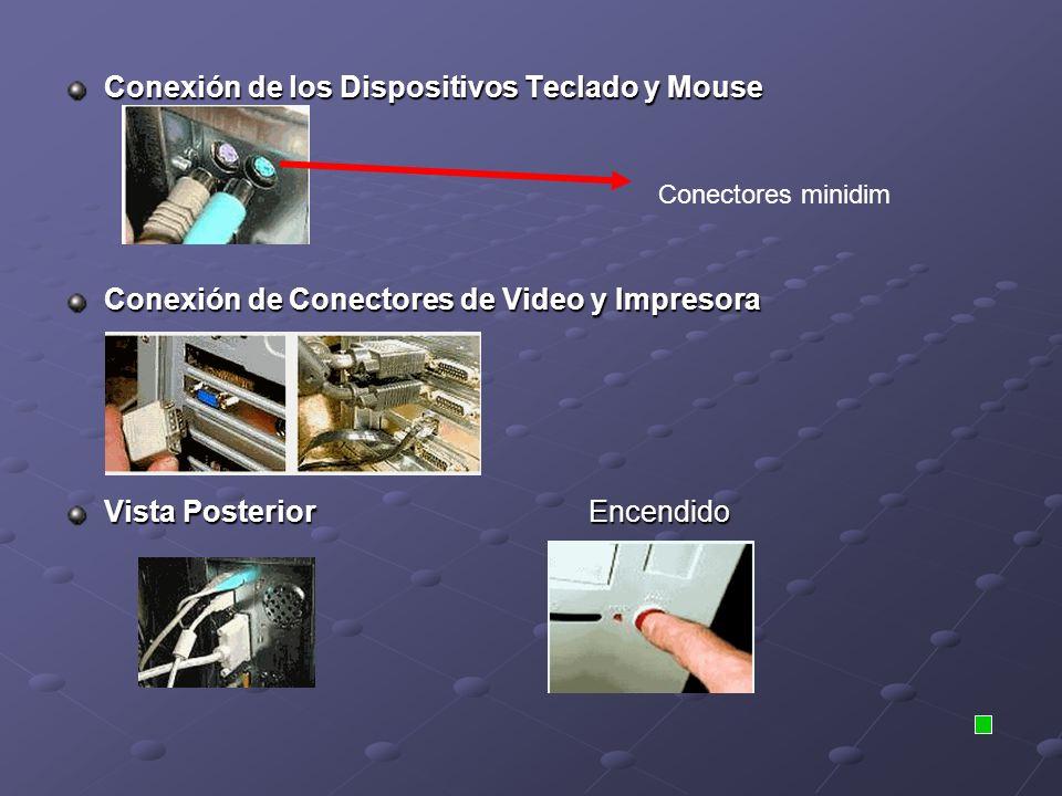 Conexión de los Dispositivos Teclado y Mouse Conexión de Conectores de Video y Impresora Vista Posterior Encendido Conectores minidim