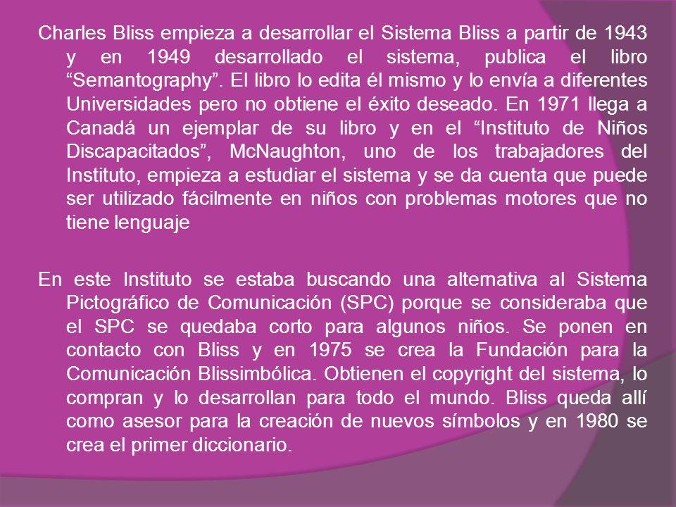 Charles Bliss empieza a desarrollar el Sistema Bliss a partir de 1943 y en 1949 desarrollado el sistema, publica el libro Semantography.