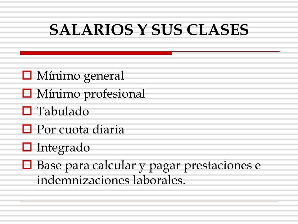 SALARIOS Y SUS CLASES Mixto Ordinario Extraordinario Semanal Quincenal Mensual Anual Mínimo