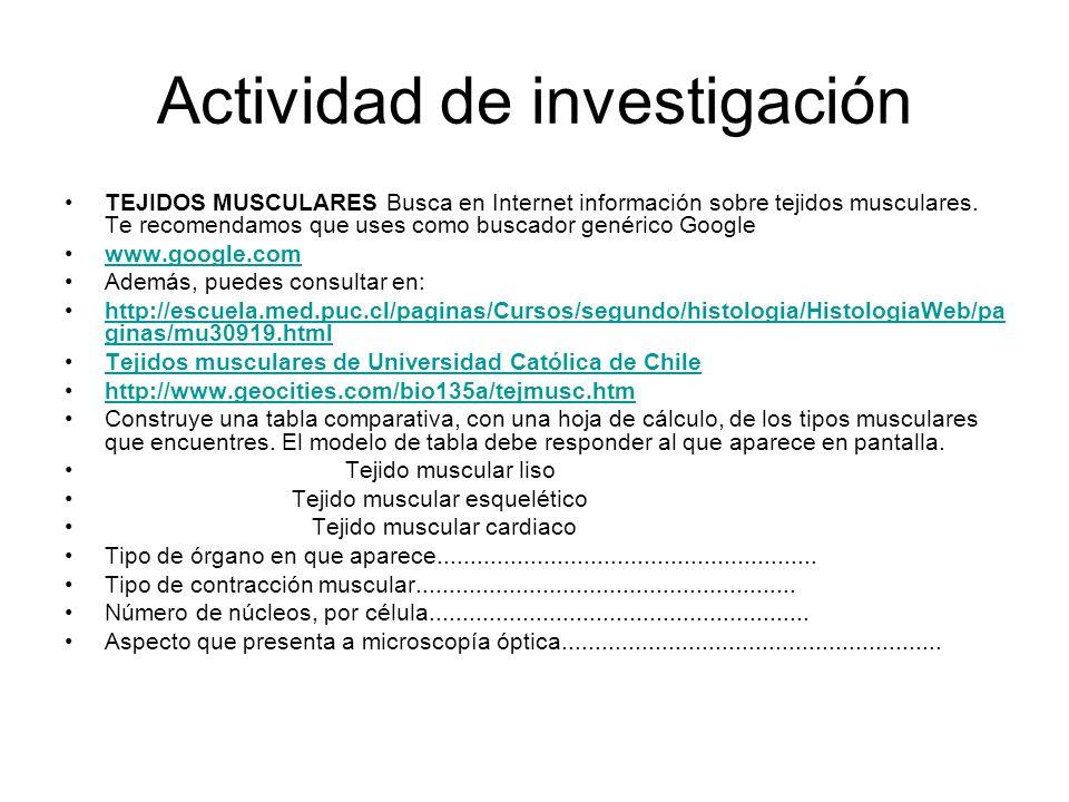 Actividad de investigación TEJIDOS MUSCULARES Busca en Internet información sobre tejidos musculares.