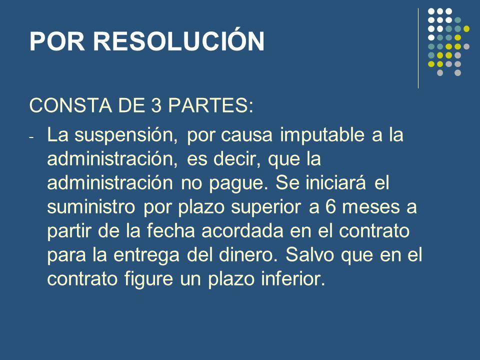 POR RESOLUCIÓN CONSTA DE 3 PARTES: - La suspensión, por causa imputable a la administración, es decir, que la administración no pague. Se iniciará el