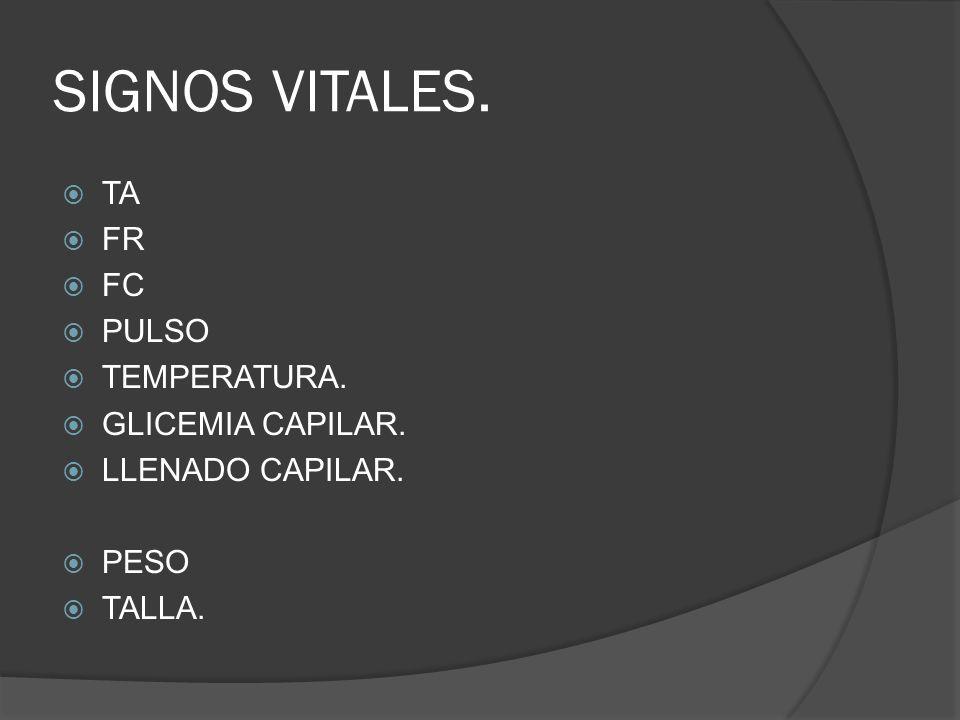 SIGNOS VITALES. TA FR FC PULSO TEMPERATURA. GLICEMIA CAPILAR. LLENADO CAPILAR. PESO TALLA.
