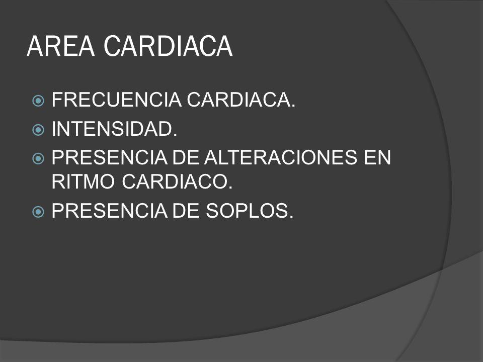 AREA CARDIACA FRECUENCIA CARDIACA. INTENSIDAD. PRESENCIA DE ALTERACIONES EN RITMO CARDIACO. PRESENCIA DE SOPLOS.
