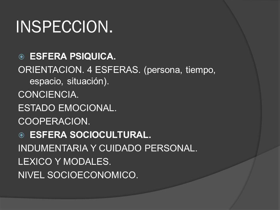 INSPECCION. ESFERA PSIQUICA. ORIENTACION. 4 ESFERAS. (persona, tiempo, espacio, situación). CONCIENCIA. ESTADO EMOCIONAL. COOPERACION. ESFERA SOCIOCUL