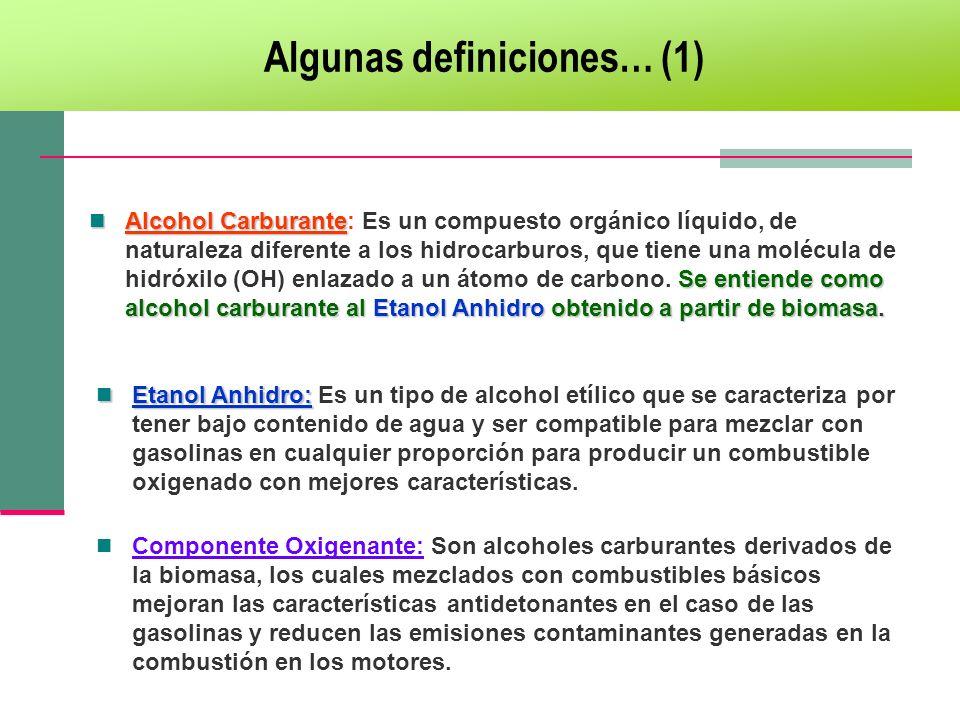 Alcohol Carburante Se entiende como alcohol carburante al Etanol Anhidro obtenido a partir de biomasa. Alcohol Carburante: Es un compuesto orgánico lí