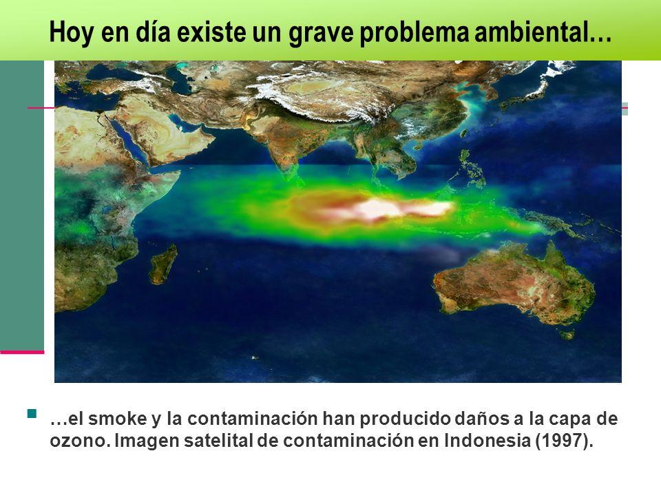 Hoy en día existe un grave problema ambiental… …el smoke y la contaminación han producido daños a la capa de ozono. Imagen satelital de contaminación