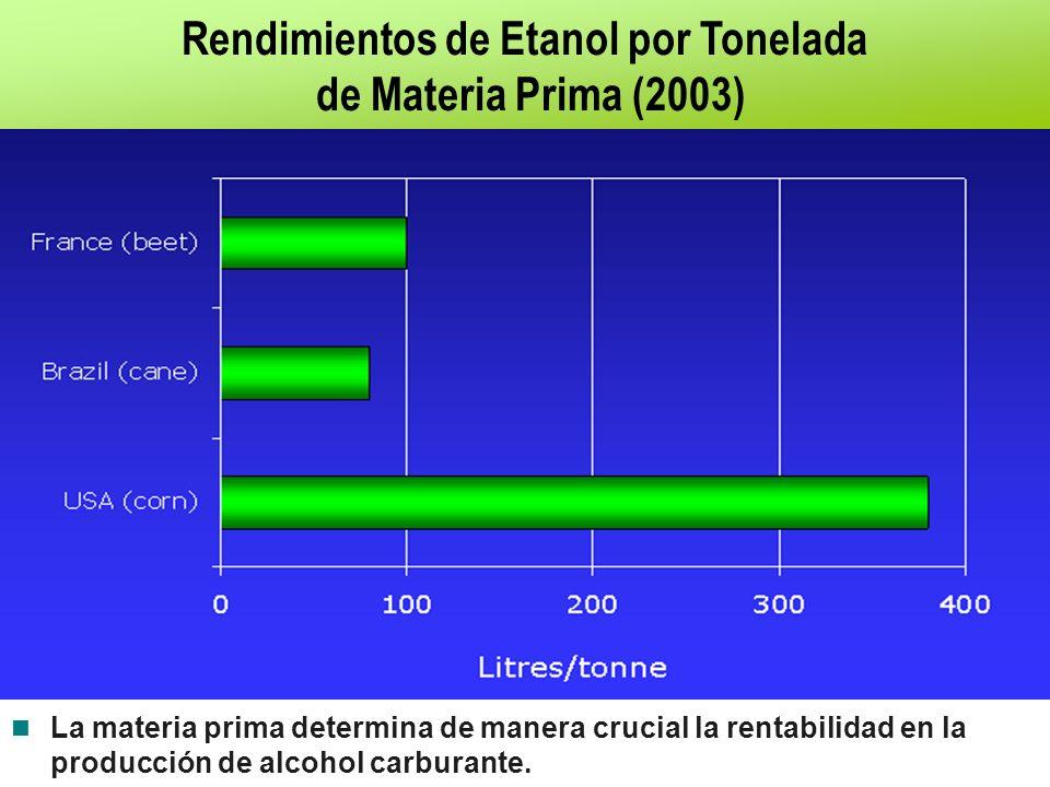 Rendimientos de Etanol por Tonelada de Materia Prima (2003) Fuente: F.O. Licht. 2003. La materia prima determina de manera crucial la rentabilidad en