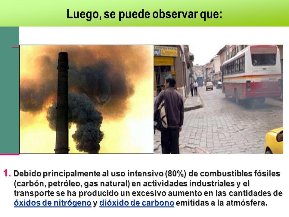1. Debido principalmente al uso intensivo (80%) de combustibles fósiles (carbón, petróleo, gas natural) en actividades industriales y el transporte se