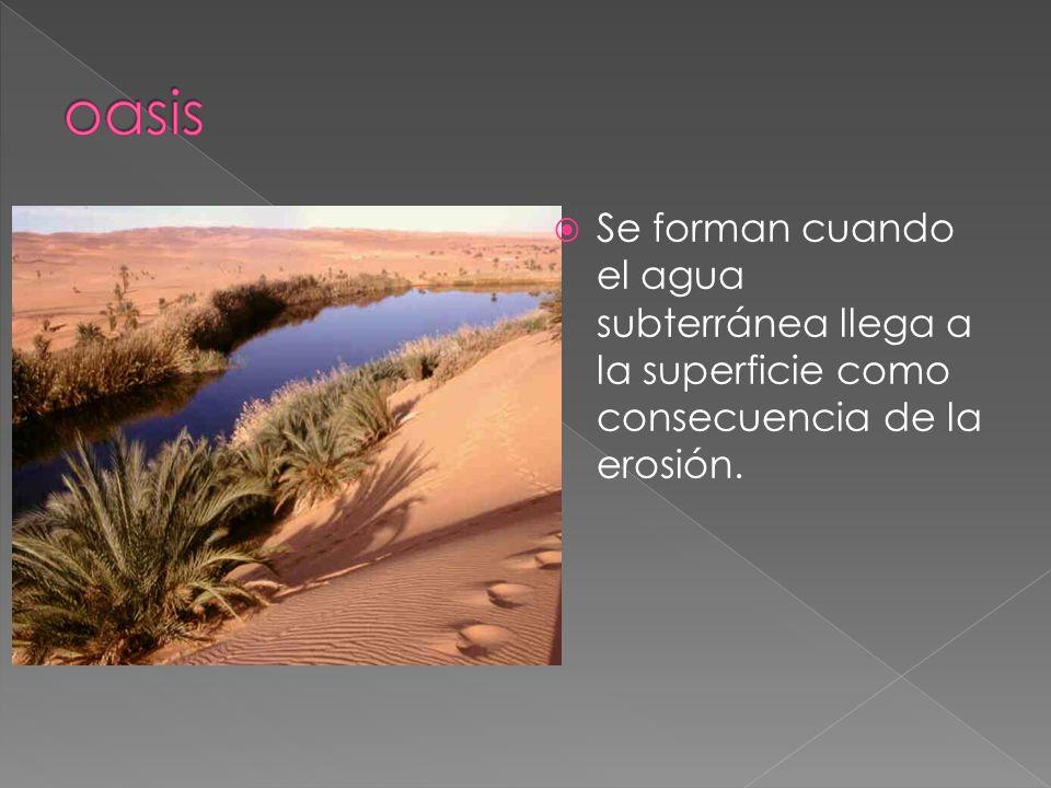 Se forman cuando el agua subterránea llega a la superficie como consecuencia de la erosión.