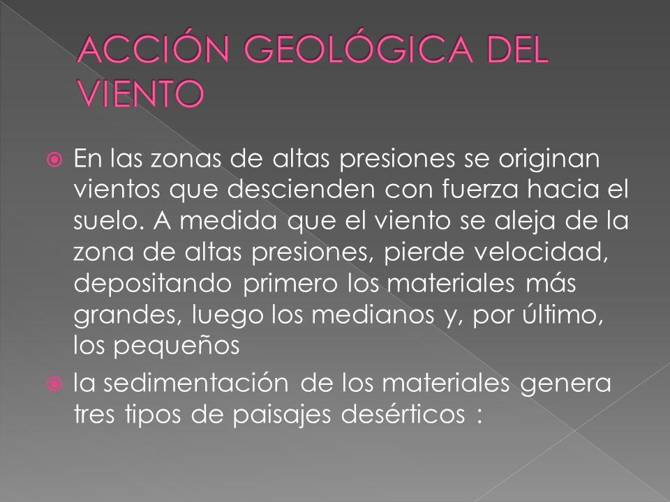 El viento es un agente geológico externo es muy activo en zonas de clima seco.