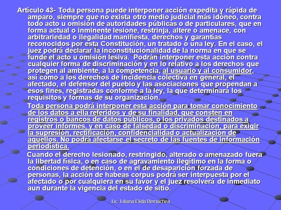 Lic. Liliana Elida Bernachea Artículo 43- Toda persona puede interponer acción expedita y rápida de amparo, siempre que no exista otro medio judicial