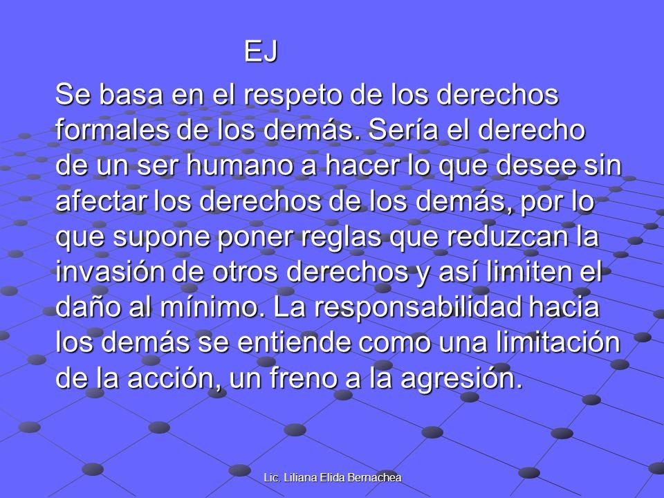Lic. Liliana Elida Bernachea EJ EJ Se basa en el respeto de los derechos formales de los demás. Sería el derecho de un ser humano a hacer lo que desee