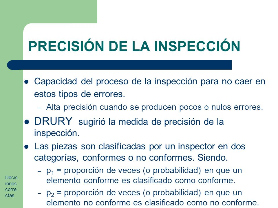 PRECISIÓN DE LA INSPECCIÓN Capacidad del proceso de la inspección para no caer en estos tipos de errores.