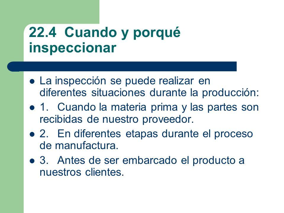 22.4 Cuando y porqué inspeccionar La inspección se puede realizar en diferentes situaciones durante la producción: 1.Cuando la materia prima y las partes son recibidas de nuestro proveedor.